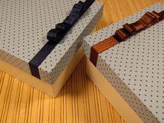 Caixas de madeira mdf decorada com lindo tecido de algodão e fita.