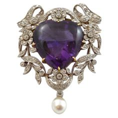 1905. Edwardian Bailey, Banks & Biddle Amethyst & Diamond Heart Pendant