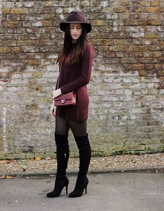 Karen Millen otk boots, chanel red flap mini, berry jumper dress, uk fashion blogger, copykitty