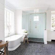 herringbone soapstone floors, light walls