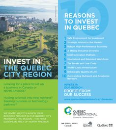 10 good reasons to invest in the Quebec City Region - leaflet Innovation, Quebec City, Investing, Marketing, World, Entrepreneurship, Inspire, Environment, Platform
