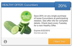 SavingStar Fresh Produce Coupon – 20% Off Loose Cucumbers