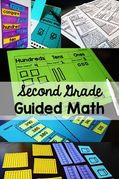 Second Grade Guided Math Units, include everything you need to implement Guided Math groups in your classroom. Small group instruction has never been easier. Centers, assessments, lesson plans, and everything you need! Teaching Second Grade, Second Grade Math, Third Grade, Grade 2, Second Grade Centers, Sixth Grade, Math Lesson Plans, Math Lessons, Math Skills