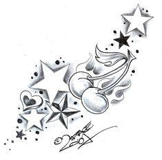 TattooD. StarsSweetsCherry2 by 2Face-Tattoo.deviantart.com on @DeviantArt