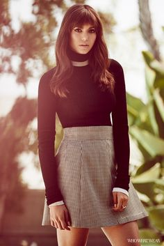 Nina Dobrev Who What Wear Exclusive  Credits: Emilio Pucci Wool Turtleneck Sweater ($815); See by Chloe Houndstooth Print Skirt ($857); Carbon and Hyde rings.