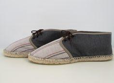 Sneaker lino rayas y gris galena T43 - María Jurado
