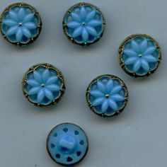 SOLD: 6 alike pierced glass vintage buttons