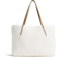 Summer Straw Tote - View All Accessories - Women - Factory Outlet -... ($25) ❤ liked on Polyvore featuring bags, handbags, tote bags, straw tote bag, straw tote, straw purses, white tote and white tote handbags