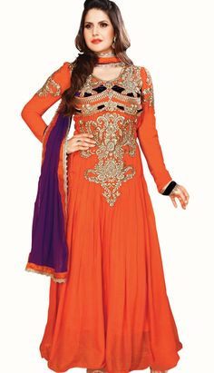 Beautiful Traditional Orange Georgette Anarkali Suit, Dress