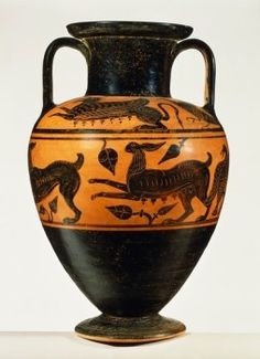 Amphora by the Micali Painter, side A. Black-figure pottery from Vulci (Lazio). Etruscan Civilisation, 6th Century BC. - stock photo