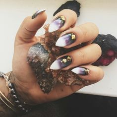 Oooooo! These are so awesome! Purple to white ombre, and gold stud details...perfection.