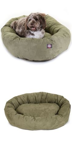 Animals Dog: Majestic Pet 52 Inch Suede Bagel Large Dog Bed, Warm Soft Cozy Cushion Puppy New BUY IT NOW ONLY: $68.17