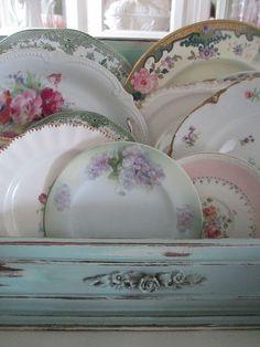 Beautiful vintage china display, floral china, shabby chic decor