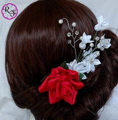 Bridal hair accessory Red and white  flowers  by RainOfFlowers