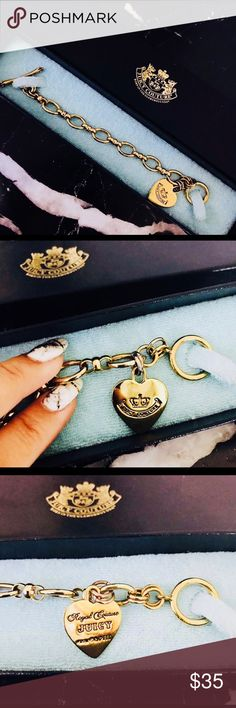 Gold Plated Juicy Couture Charm Bracelet Gently used gold Plated Juicy Couture fashion bracelet. Can be used to attach charms to, or worn alone. Heart shaped pendant is light and re-bar clasp can adjust and fit any size wrist. Comes with original box and tag! Juicy Couture Jewelry Bracelets