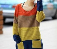 Colorful Stripe Loose Sweater with Pocket
