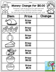 As we get ready to head on into November, I wanted to create some packets that make learning core skills FUN, hands-on and super effective. Mental Maths Worksheets, Money Worksheets, 2nd Grade Worksheets, Kindergarten Math Worksheets, School Worksheets, Worksheets For Kids, Learning Resources, Thanksgiving Worksheets, Learning Money