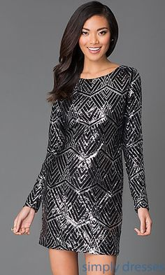Dresses, Formal, Prom Dresses, Evening Wear: Long Sleeve Sequin Dress I101821F4 by As U Wish