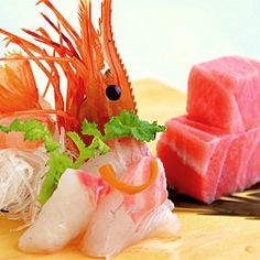 Sashimi -- I see you! And when we seafood, we eat it -- YUM!