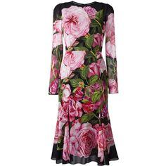 Dolce & Gabbana rose print dress ($2,995) ❤ liked on Polyvore featuring dresses, pink, pink dress, flower print dress, pink peplum dress, floral print dress and long sleeve floral dress