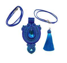 Pacyfic Blue pendant Soutache pendente soutache pendentif