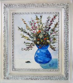 """""""Wildflowers in a Blue Vase"""" Original: Artists Collection. Available as Prints, Note Cards and Magnets."""