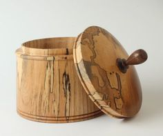 Spalted Elm Canister - AAW Photo Gallery (With images) Lathe Projects, Wood Turning Projects, Easy Woodworking Projects, Wooden Art, Wooden Crafts, Wooden Boxes, Wood Stove Heater, Woodworking Inspiration, Wood Lathe