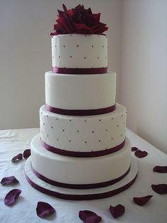 burgundy wedding cake