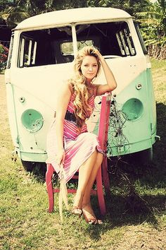 <3 it - love her outfit, love the vw bus, and the whole photo idea