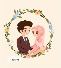 Weddings Discover Save The Date.cute Muslim Couple Cartoon W-Weddings Discover Save The Date.cute Muslim Couple Cartoon With Flower Wreath Fo… Weddings Discover Save The Date.cute Muslim Couple Cartoon With Flower Wreath For Wedding Invitation Card - Bride And Groom Cartoon, Wedding Couple Cartoon, Cute Couple Cartoon, Cartoon Wallpaper, Of Wallpaper, Wedding Invitation Cards, Wedding Cards, Muslim Couple Photography, Wedding Drawing