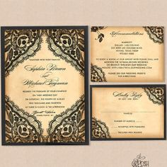 Black Lace Wedding Invitation Suite  Style 34 by GBPosh on Etsy, $28.00