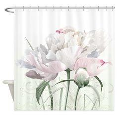 Beautiful Peony Painting Shower Curtain on CafePress.com