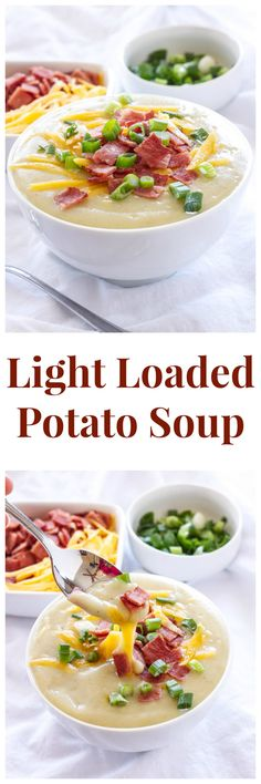 Light Loaded Potato Soup | This amazingly thick and creamy soup is lightened up with 2 secret ingredients! | @reciperunner