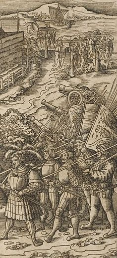 Der Weisskunig 33 Detail Landsknecht passing the bodies of hanged soldiers.jpg