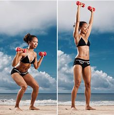Squat + Shoulder Press...now run the length of the beach!!!!