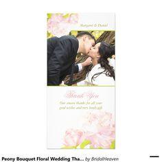 シャクヤクの花束の花の結婚式は感謝していしています フォトカード