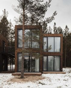 Gallery of Tochka na Karte Hotel / Rhizome - 32 Cabins In The Woods, House In The Woods, Casa Loft, Interior Design Photography, Cabins And Cottages, Tiny House Design, Cabin Homes, Modern Architecture, House Styles