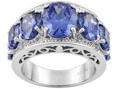 Charles Winston For Bella Luce (R) 12.88ctw Tanzanite & White Diamond Simulants Silver Ring