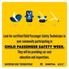 Look for certified child passenger safety technicions in your community participating in Child Passenger Safety Week. They will be providing car seat education and inspections.  Use the hashtag #isaluteCPS across all your social media channels to spread awareness!