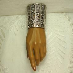 1910 Rhinestone Gauntlet Bracelet Copy, Goth Art Deco Glam Bride Prom, White Rhinestones, Silver Elastic HUGE Statement Bracelet,. $45.00, via Etsy.