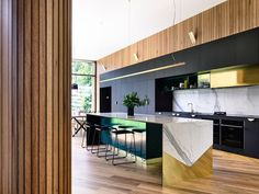 'Minimal Interior Design Inspiration' is a weekly showcase of some of the most perfectly minimal interior design examples that we've found around the web - all Black Kitchen Cabinets, Black Kitchens, Kitchen Countertops, Kitchen Island, Island Bar, Island Bench, Brass Kitchen, Home Decor Kitchen, Kitchen Furniture