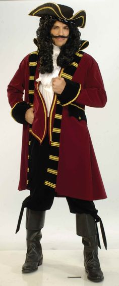 Pirate Captain Hat, Jacket, Boot tops, Shirt Front. Wig Sold Seperately.