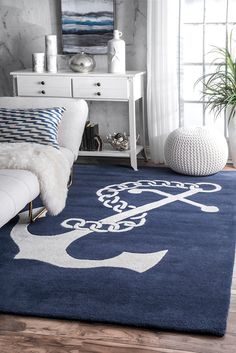 Nautical Anchor Rug: Bring the thrill of the high seas into your home with this elegant Nautical Anchor Rug. Hand tufted out of 100% wool