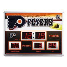 Philadelphia Flyers Scoreboard Digital Wall Clock w/ Temp & Date