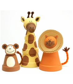 Clay Pot Animals created with Apple Barrel paints