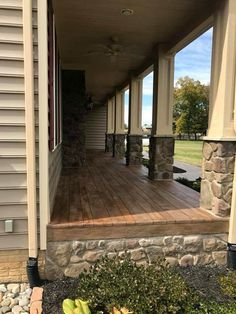 Custom Stained Concrete Wood Porch in Boyce, Virginia. Concrete Front Porch, Porch Wood, Concrete Wood, Stained Concrete Porch, Concrete Houses, Concrete Countertops, Concrete Floors, Front Porch Remodel, Front Porch Makeover