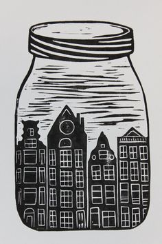 A5 Lino Print Mason Jar Amsterdam Houses Black and White