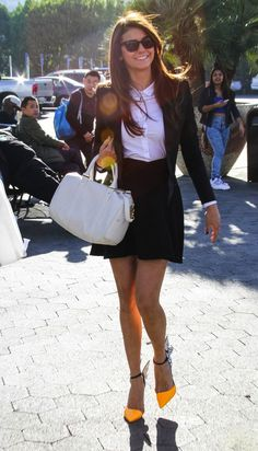 6a5b21dcd301c Nina Dobrev Street Style - School Girl Skirt Nikolina Konstantinova  Dobreva