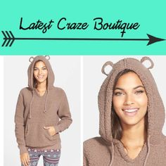 COZY ZOE Animal Hoodie THIS IS TOO FUN!!! Adorable animal ears add playful charm to a super-plush hoodie, kangaroo pocket, 100% polyester Cozy Zoe Tops Sweatshirts & Hoodies