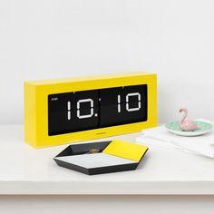 Cloudnola Prince Flip Clock Yellow and Black Projector Wall, Hangout Room, Diy Clock, Prince, Digital Alarm Clock, Furniture Design, Yellow, Black Clocks, Home Decor
